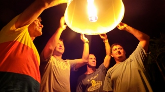 Nico, Sean, John, and Shaun  Releasing A Sky Lantern