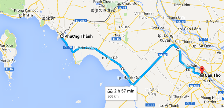 Ha Tien to Can Tho Map WanderlustMike