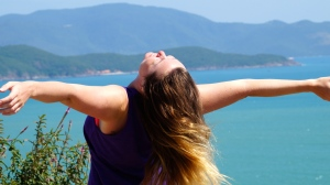 Maria Enjoying the View and the Day - Road to Bai Dai