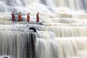Monks at Pongour Waterfall - Near Da Lat, Vietnam